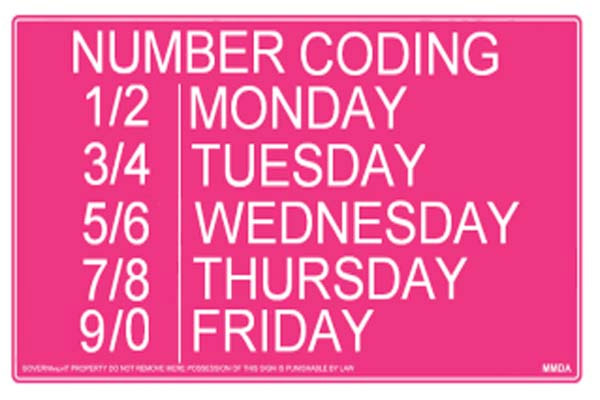 Number Coding Window Hours